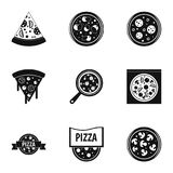Pizza assortment icons set, simple style. Pizza assortment icons set. Simple style set of 9 pizza assortment vector icons for web design Stock Images