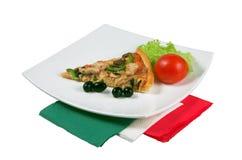 Pizza auf einem weißen Hintergrund Stockfoto