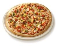 Pizza auf Platte Lizenzfreies Stockfoto