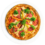 Pizza auf weißem Teller Lizenzfreies Stockbild