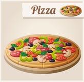 Pizza Ausführliche Vektor-Ikone Lizenzfreie Stockfotos