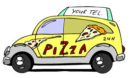 Pizza auto. Hand drawn cartoon pizza auto Royalty Free Stock Photo
