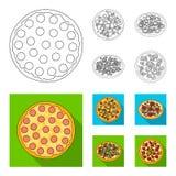 Pizza avec de la viande, le fromage et tout autre remplissage Icônes réglées de collection de pizza différente dans le contour, s illustration libre de droits