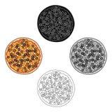 Pizza avec de la viande, le fromage et tout autre remplissage Ic?ne simple de pizza diff?rente dans la bande dessin?e, actions no illustration libre de droits