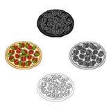 Pizza avec de la viande, le fromage et tout autre remplissage Ic?ne simple de pizza diff?rente dans la bande dessin?e, actions no illustration stock