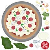 Pizza avec des écrimages Photos libres de droits