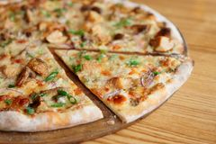 Pizza avec des champignons de porcini, plan rapproché Image libre de droits