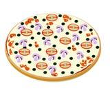 Pizza avec des champignons et des olives Illustration de Vecteur