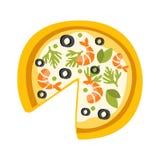 Pizza avec des crevettes manquant une icône primitive de bande dessinée de tranche, une partie de série de café de pizza d'illust Image stock