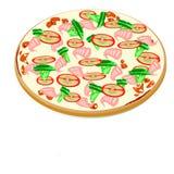 Pizza avec des fruits de mer et des tomates Illustration Stock