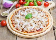 Pizza avec des thons Image libre de droits