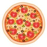 Pizza avec des tomates Photo stock