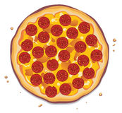 Pizza avec des tranches de pepperoni Photographie stock libre de droits