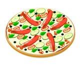 Pizza avec la saucisse et l'avocat Illustration de Vecteur