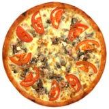 Pizza avec la tomate et le fromage Photographie stock libre de droits