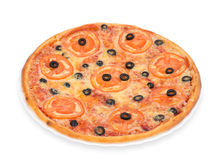 Pizza avec la tomate et les olives Image stock