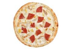 Pizza avec la vue supérieure de poulet et d'ananas photos libres de droits