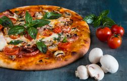 Pizza avec le champignon de paris Images stock