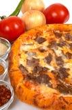 Pizza avec le doner photographie stock libre de droits