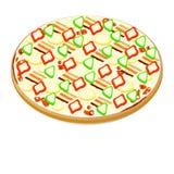 Pizza avec le lard et le paprika Illustration de Vecteur