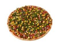 Pizza avec le lard et les légumes, demi-complets Photo libre de droits