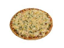 Pizza avec le lard et les légumes, prêts Images libres de droits