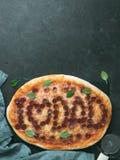 Pizza avec le lettrage de papa d'amour d'I, l'espace de copie Photo libre de droits