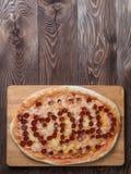 Pizza avec le lettrage de papa d'amour d'I, l'espace de copie Images libres de droits