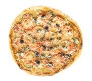 Pizza avec le salami Photo libre de droits