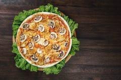 Pizza avec les champignons et la viande sur le salat images libres de droits