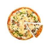 Pizza avec les champignons et le persil Photo libre de droits
