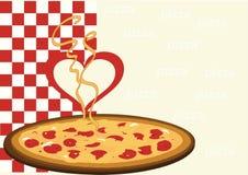 Pizza avec un coeur Photo stock
