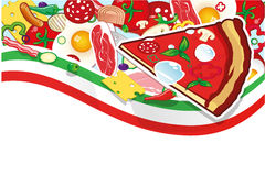 Pizza background. Background with pizza ingredients and banner Royalty Free Stock Photography