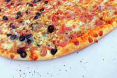 Pizza Background. Delicious traditional Italian pizza background Stock Photos