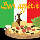 Pizza on the background of the Italian flag. Clipping Mask. Pizza on the background of the Italian flag Royalty Free Stock Images