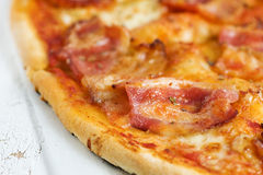 Pizza with bacon Royalty Free Stock Photo