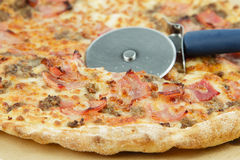 Pizza with bacon Stock Photo