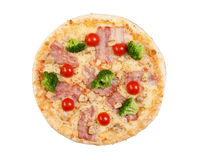 Pizza with bacon, cauliflower, cheese and cherry tomatoes Stock Photos
