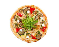 Pizza with bacon, cauliflower, cheese, cherry tomatoes, isolated Stock Photos