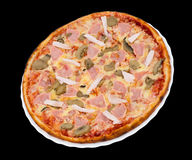 Pizza with bacon, chicken and mushrooms Royalty Free Stock Photos