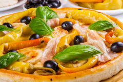 Pizza with bacon, chicken and pickled pepper pepperoni Royalty Free Stock Photos
