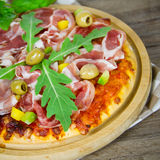 Pizza with bacon Royalty Free Stock Photography