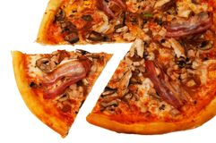 Pizza with bacon isolated Stock Images