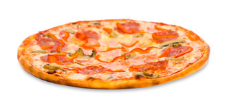 Pizza with bacon, peperoni and mushrooms Stock Image