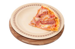 Pizza with bacon on the plate Royalty Free Stock Photography