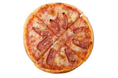Pizza with bacon on the white background Stock Images