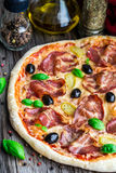 Pizza with bacon Stock Photography