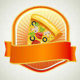 Pizza badge. Label or badge with a slice of pizza and orange ribbon Stock Photos