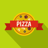 Pizza badge with red ribbon icon, flat style Royalty Free Stock Photography