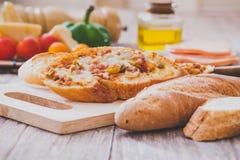 Pizza Baguette Stock Photo